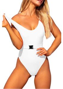 Tansuitme Women's One Piece Swimsuit (White Bikini)
