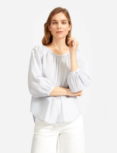 The Ruched Air Blouse (White Multi Stripe)