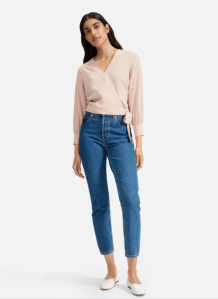 The Washable Silk Wrap Top (Rose)