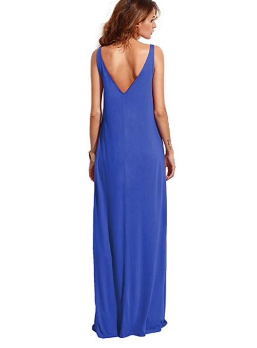 Verdusa Women's Casual Sleeveless Deep V Neck Summer Beach Maxi Dress (Blue)