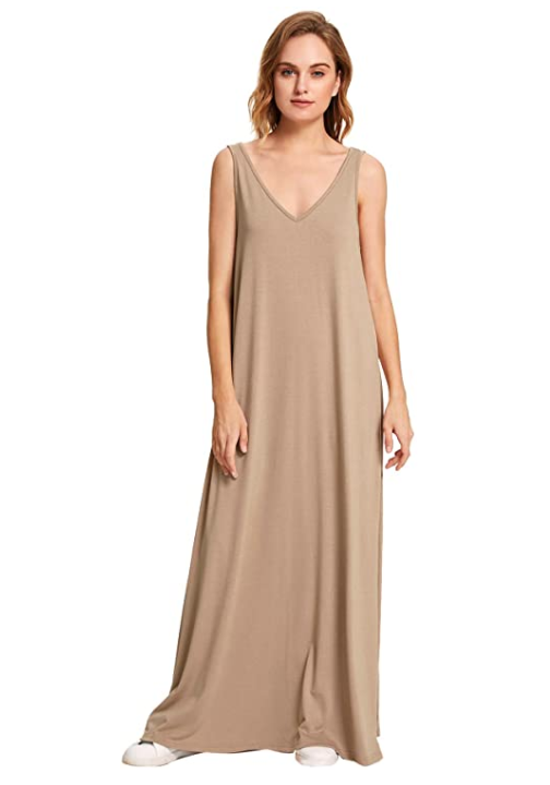 Verdusa Women's Casual Sleeveless Deep V Neck Summer Beach Maxi Dress (Khaki)