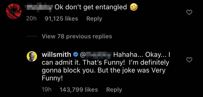 Will Smith entangled clapback