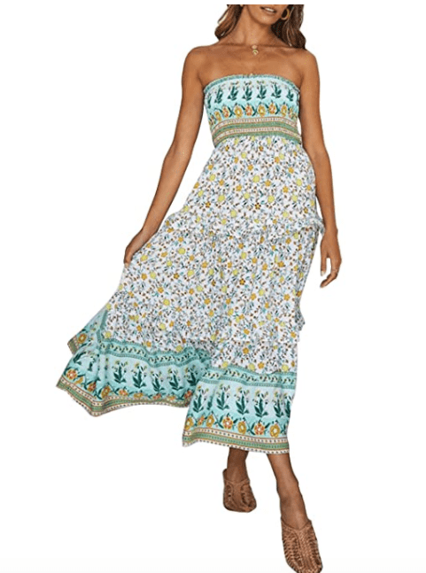 ZESICA Women's Summer Bohemian Floral Printed Strapless Maxi Dress (Light Green)