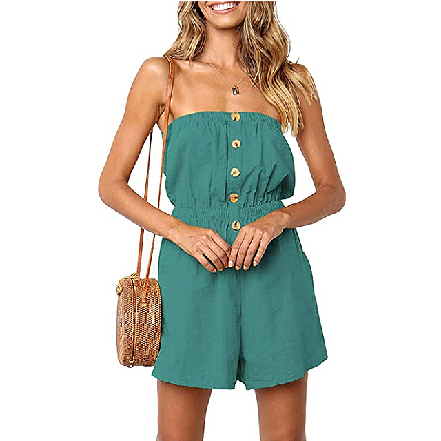 ZESICA Women's Summer Strapless Solid Color Button Down Elastic Waist Romper (Light Green)