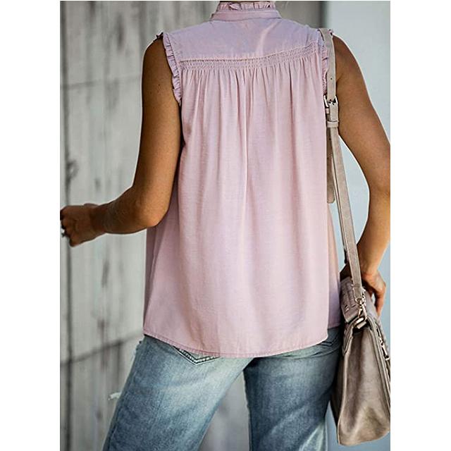ZKESS feminino casual com babado sem mangas decote em V com botão na camiseta