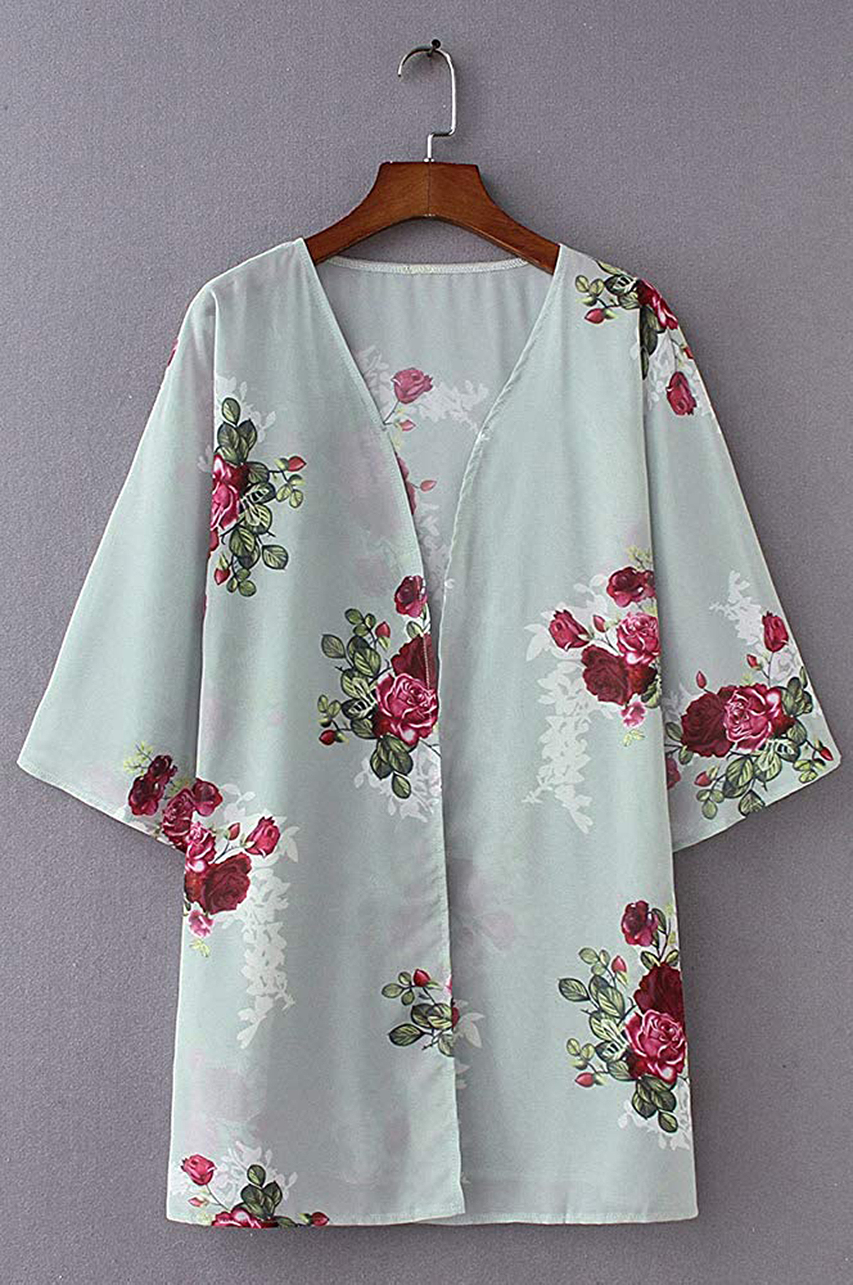 Chicgal Floral Print Kimono Cardigan Loose Cover Up