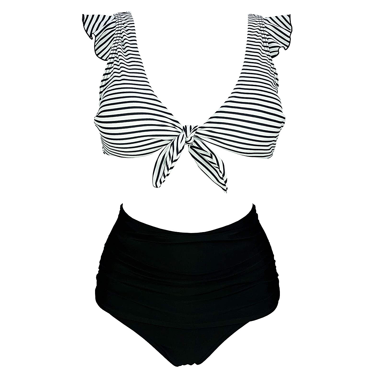 COCOSHIP Retro High Waisted Shirred Bikini Set