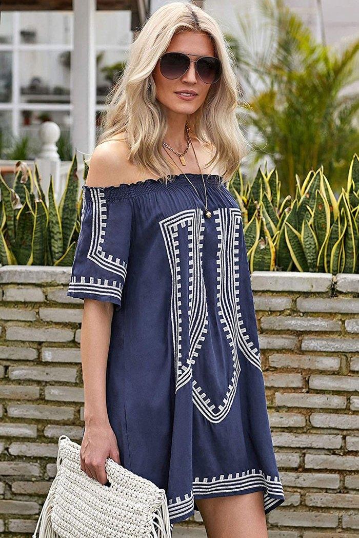 GOSOPIN Bohemian Vibe Geometric Print Off The Shoulder Beach Dress