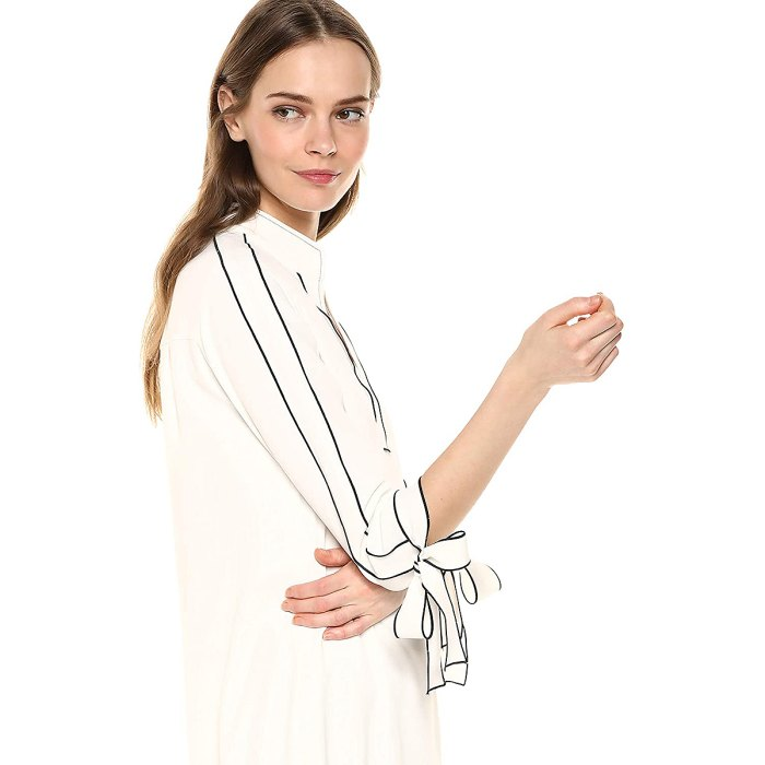 Lark & Ro Tie Detail Three Quarter Sleeve Split Neck Shift Dress
