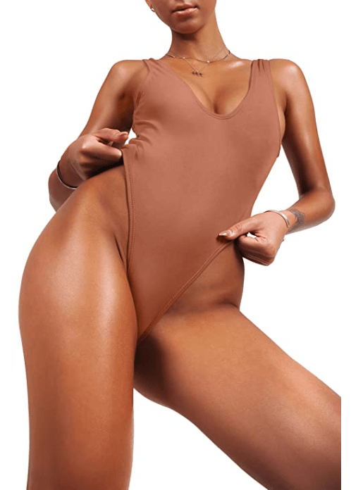 sofsy Retro Backless One Piece Swimsuit for Women (Nude)