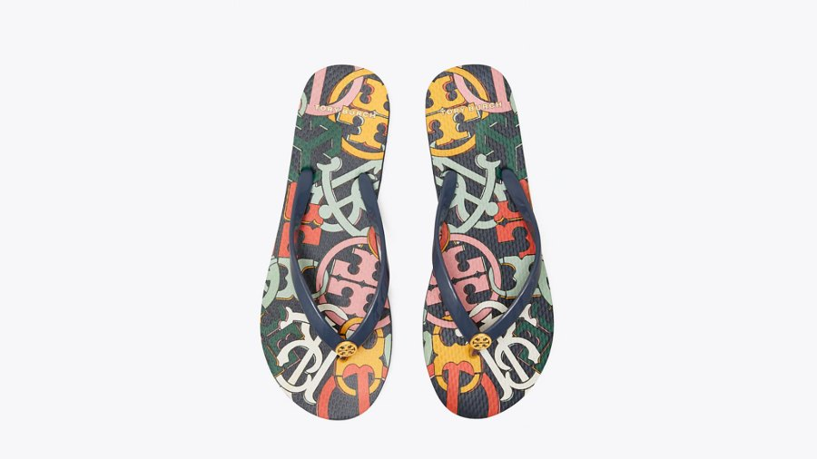 Printed Thin Flip-Flop in Perfect Navy/Medley Logo