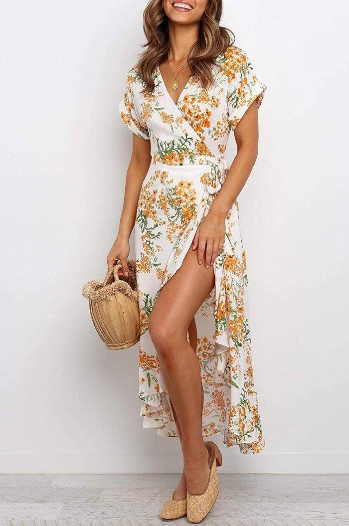 Vestido largo cruzado con estampado floral bohemio de ZESICA