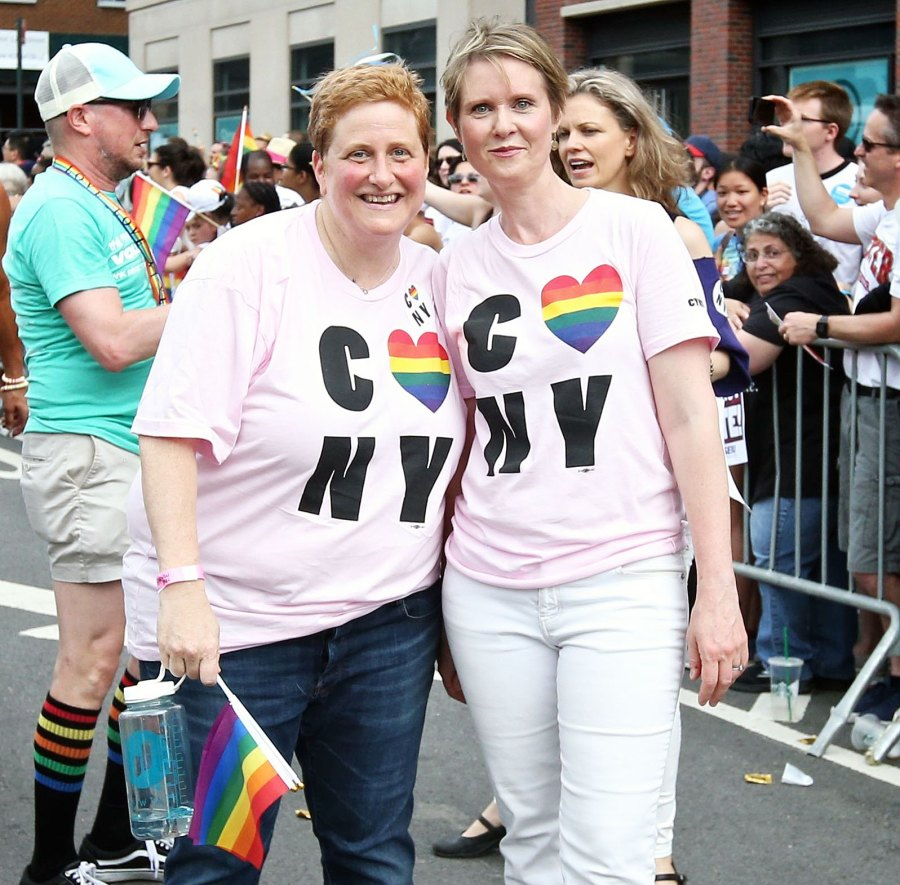 Christine Marinoni and wife Cynthia Nixon at NYC Pride March Hollywoods Gay Power Couples