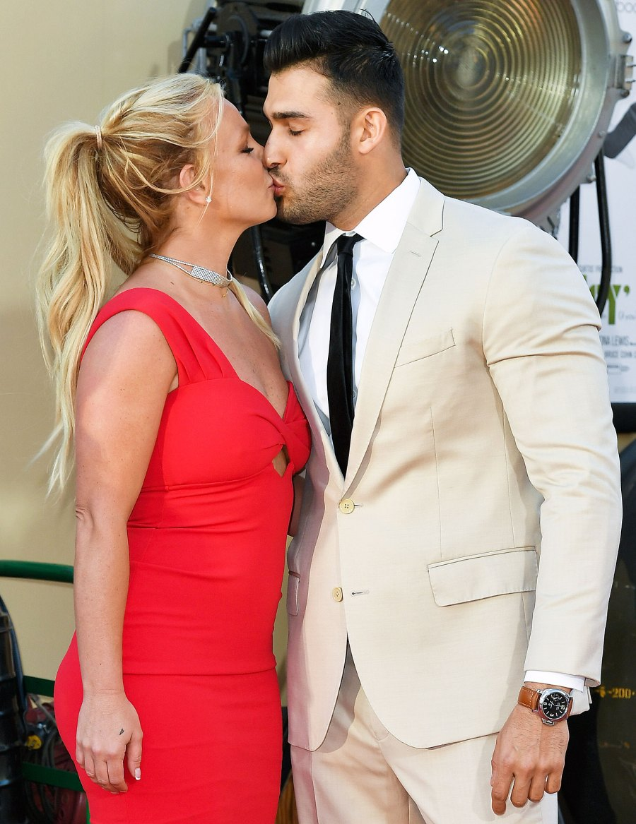 Britney Spears and Sam Asghari Relationship Timeline Kissing at Once Upon a Time in Hollywood Premiere