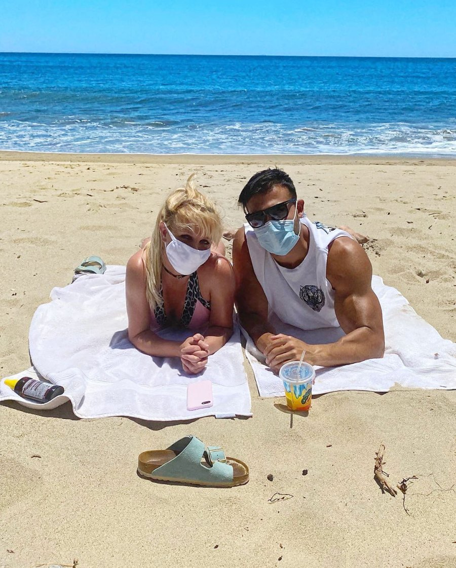Britney Spears and Sam Asghari Relationship Timeline Wearing Face Masks at the Beach