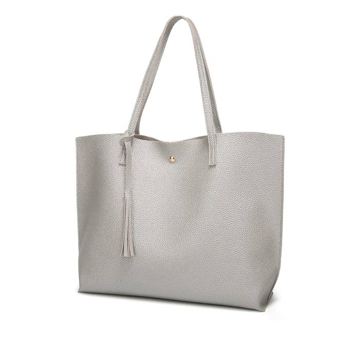 Dreubea Soft Faux-Leather Tote Shoulder Bag