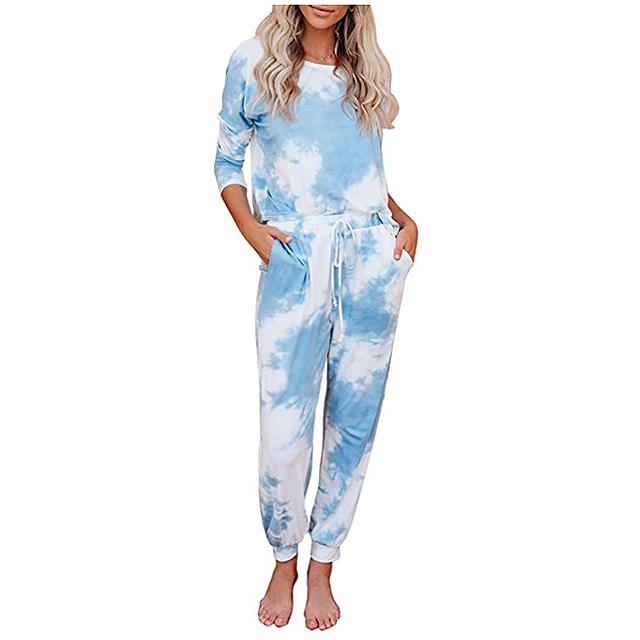Conjunto de pijama estampado con efecto tie dye Azokoe para mujer
