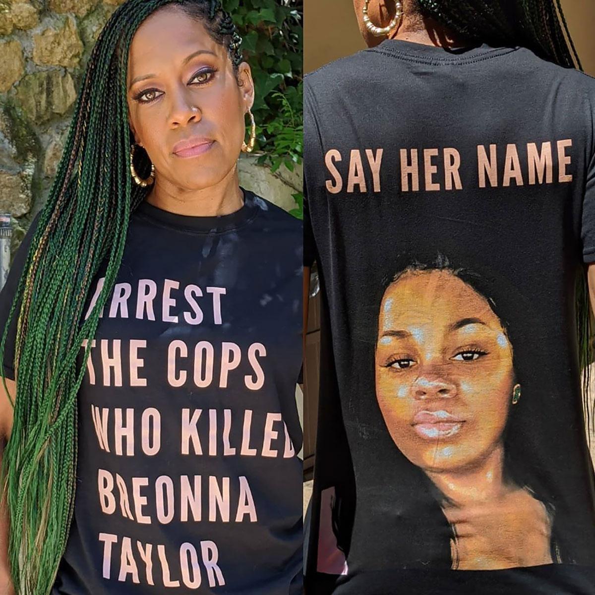 Regina King And More Celebs Wear Breonna Taylor Shirt Pics
