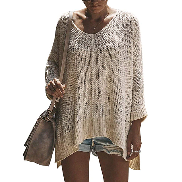 Exlura Women's Casual V Neck Loose Oversized Pullover Sweater (Light Beige)