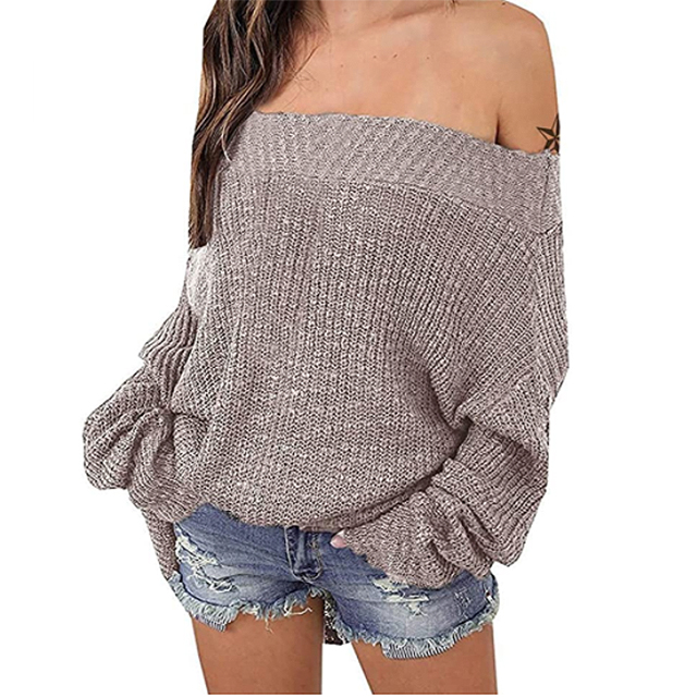 Exlura Women's Off Shoulder Sweater Batwing Oversized Jumper (Khaki)