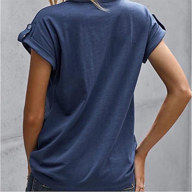 GOSOPIN Women Summer Short Sleeve Button Tunic Top (Blue)