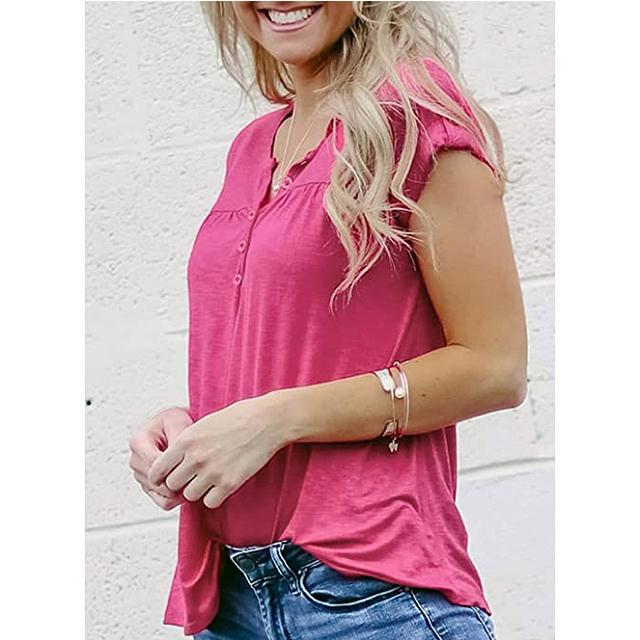 GOSOPIN Women Summer Short Sleeve Button Tunic Top (Rose)