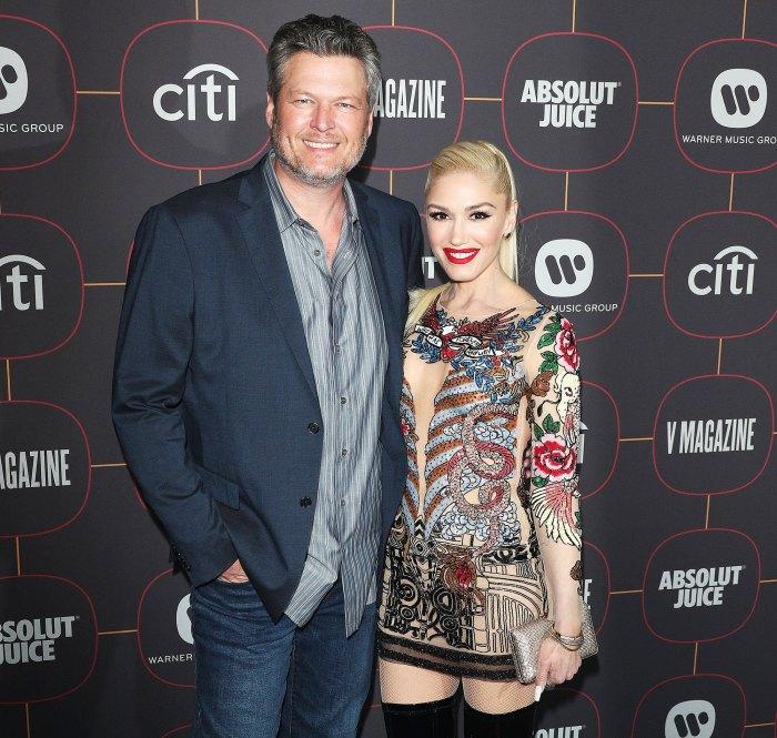 Gwen Stefani and Blake Shelton at Warner Music Pre-Grammys Party Gwen Stefani Corrects Dua Lipa After She Mistakenly Calls Blake Shelton Her Husband