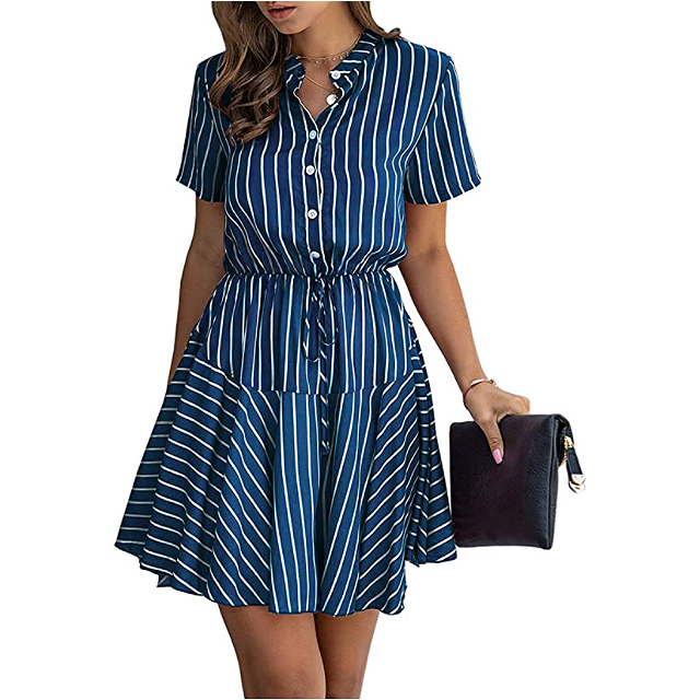 KIRUNDO 2020 Women's Summer Plaid Striped Snake Mini Dress
