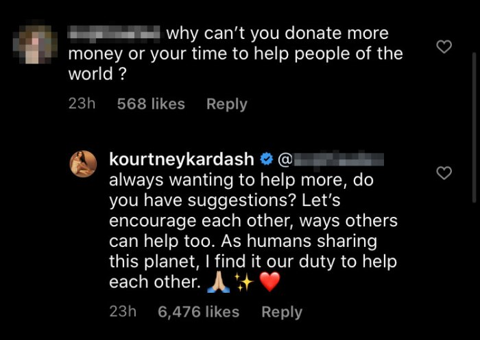 Kourtney Kardashian Asks for Suggestions After Fan Says to Donate More