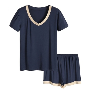 Latuza Women's V-Neck Sleepwear Short Sleeve Pajama Set (Navy)