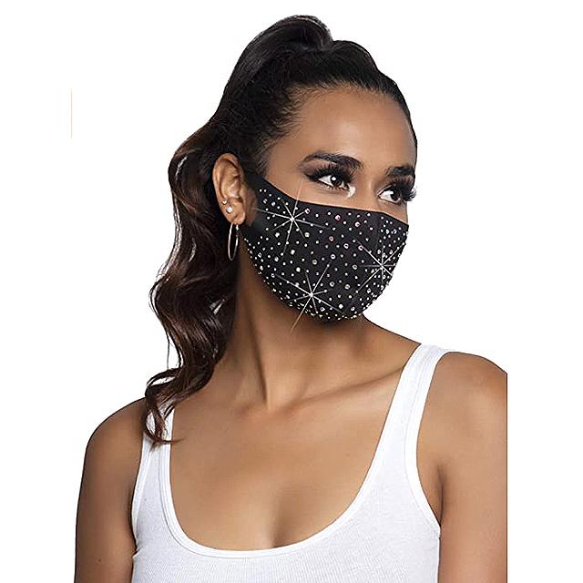 Leg Avenue Rhinestone Fashionable Face Mask (Naya Black)