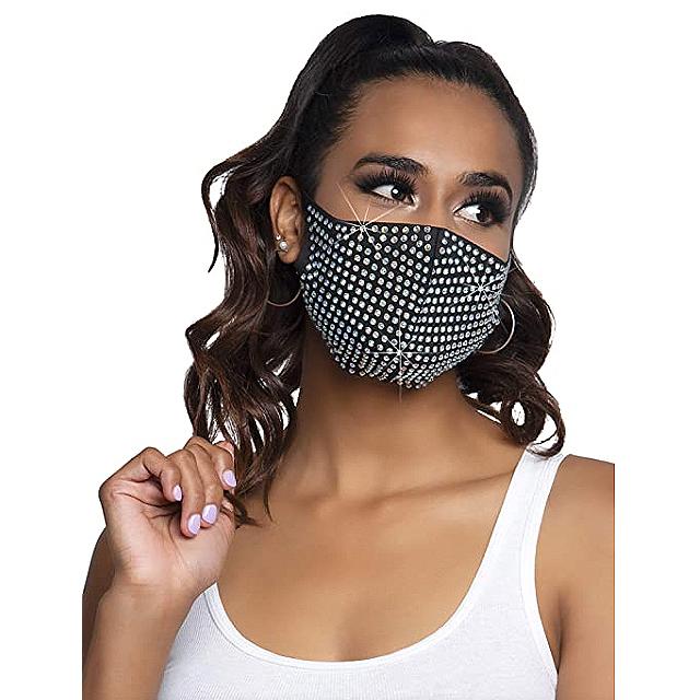 Leg Avenue Rhinestone Fashionable Face Mask (Zuri Black)