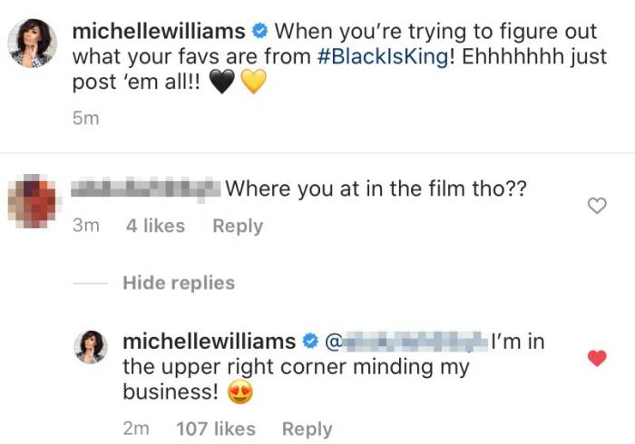 "Michelle Williams explique son absence de "" Black Is King "" de Beyonce"
