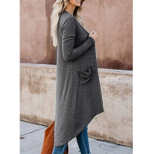 Paitluc Open Front Long Knit Cardigan Sweater (Pure Dark Gray)