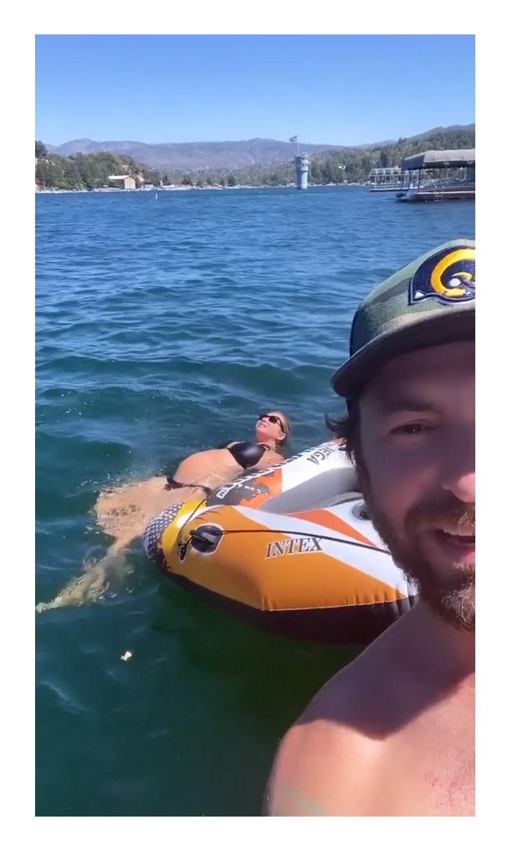 Pregnant Stassi Schroeder Cradles Baby Bump in Bikini During Lake Trip Beau Clark