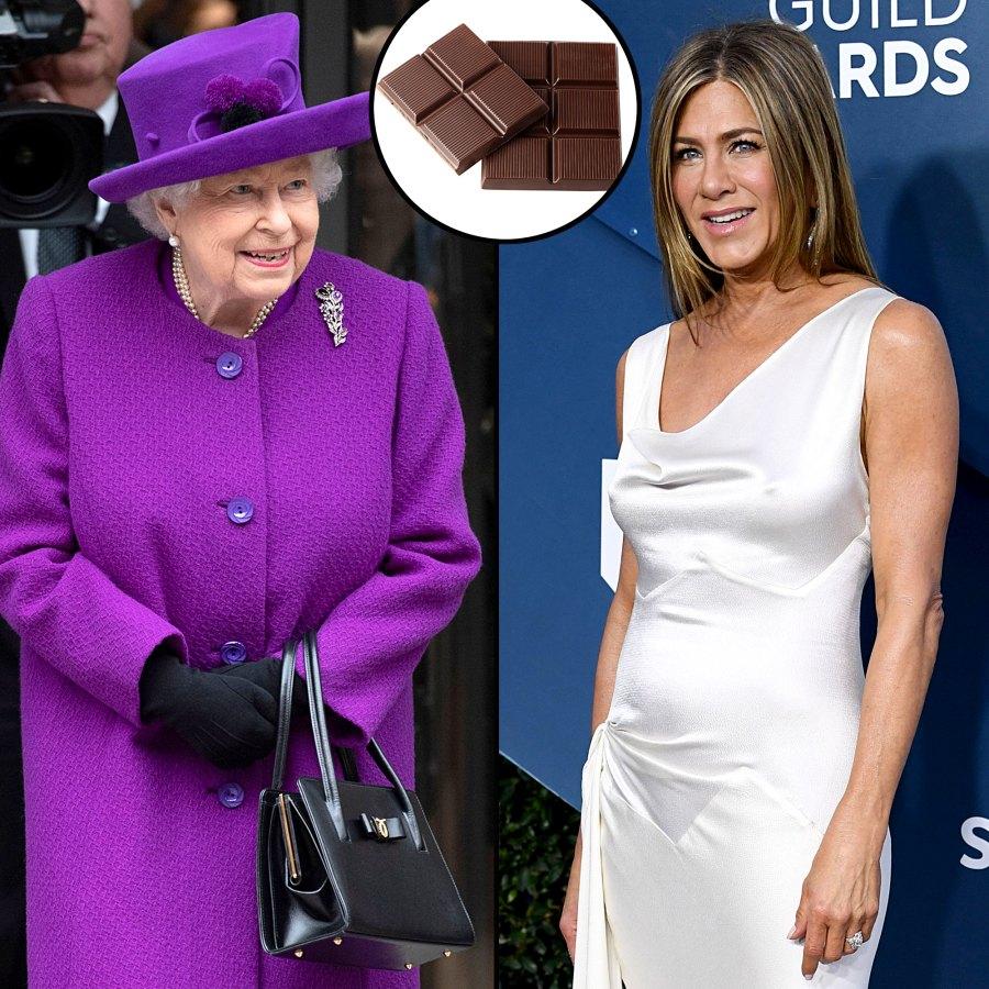 Stars Favorite Foods See What Queen Elizabeth Chocolate Jennifer Aniston