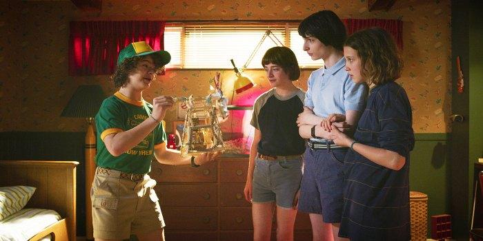 Gaten Matarazzo Noah Schnapp Finn Wolfhard and Millie Bobby Brown in Stranger Things Stranger Things Creators Matt Duffer and Ross Duffer Confirm Series Will Not End After Season 4