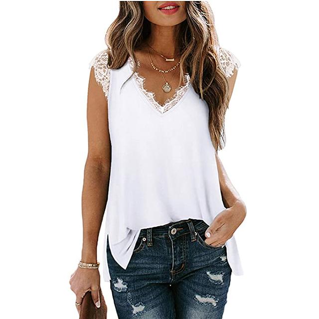 Camiseta sin mangas de encaje con cuello en V para mujer XIEERDUO (blanco)