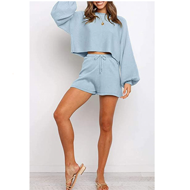 ZESICA Women's Casual Long Sleeve Solid Color Knit Pullover Sweatsuit (Blue)