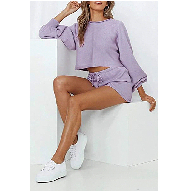 ZESICA Womens Casual Long Sleeve Solid Color Knit Pullover Sweatsuit 2 Piece Short Sweater Outfits Sets