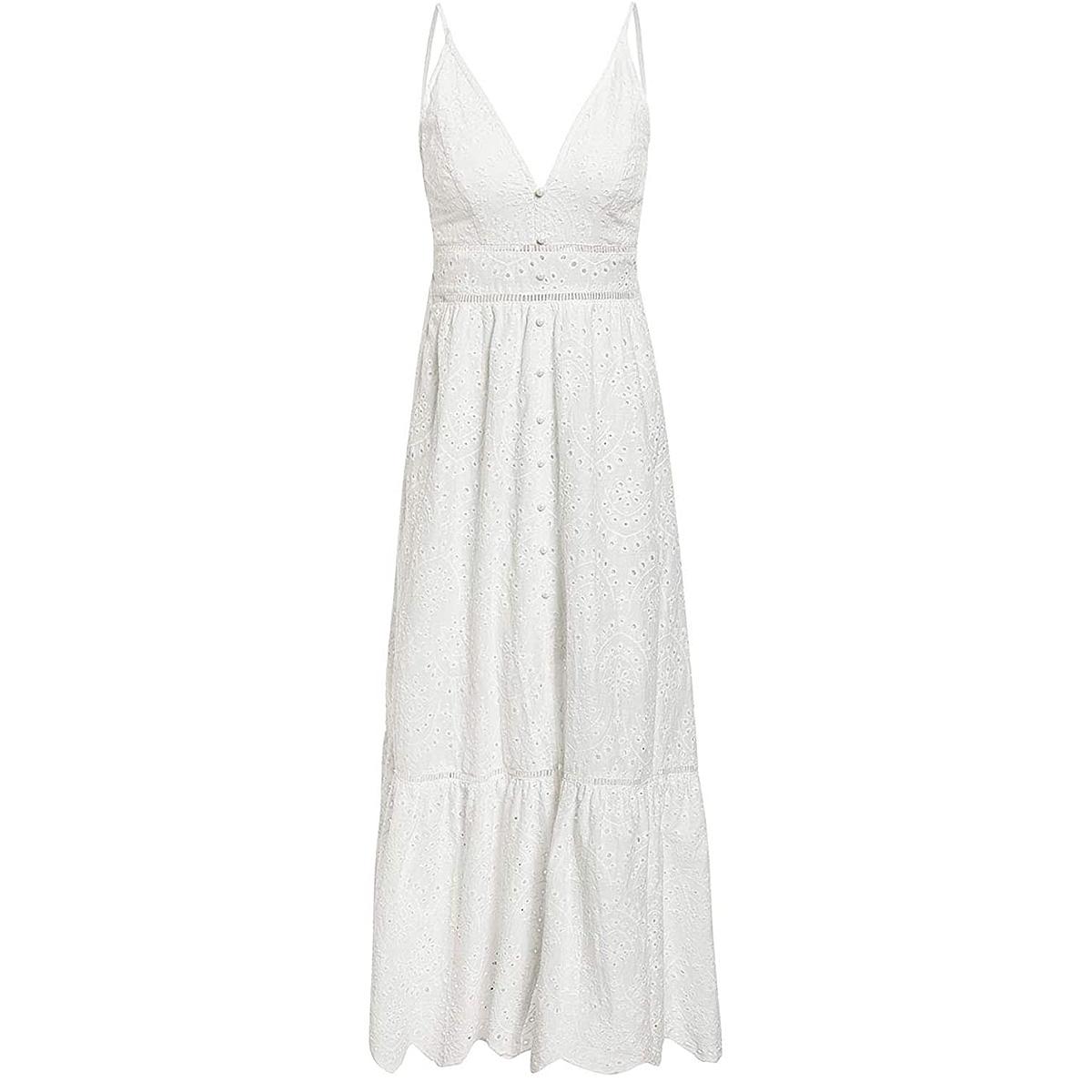 BerryGo Embroidery Pearl Button V Neck Spaghetti Strap Maxi Dress