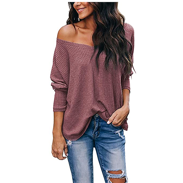 iGENJUN Women's Casual V-Neck Off-Shoulder Batwing Sleeve Pullover Sweater Top (Brick Red)