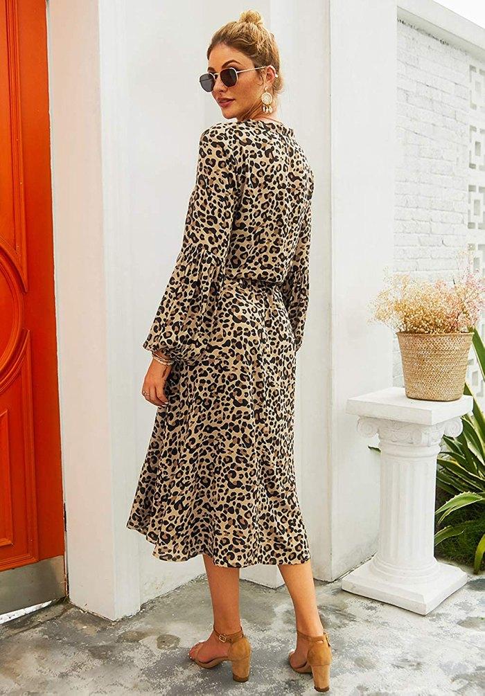 KIRUNDO Midi Leopard Dress