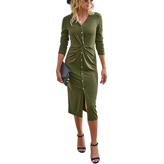 KIRUNDO Deep V Neck Twist Front Dress