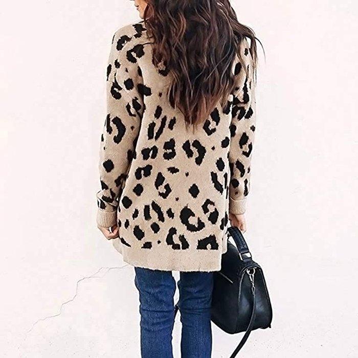 ZESICA long Sleeve Open Front Leopard Print Cardigan