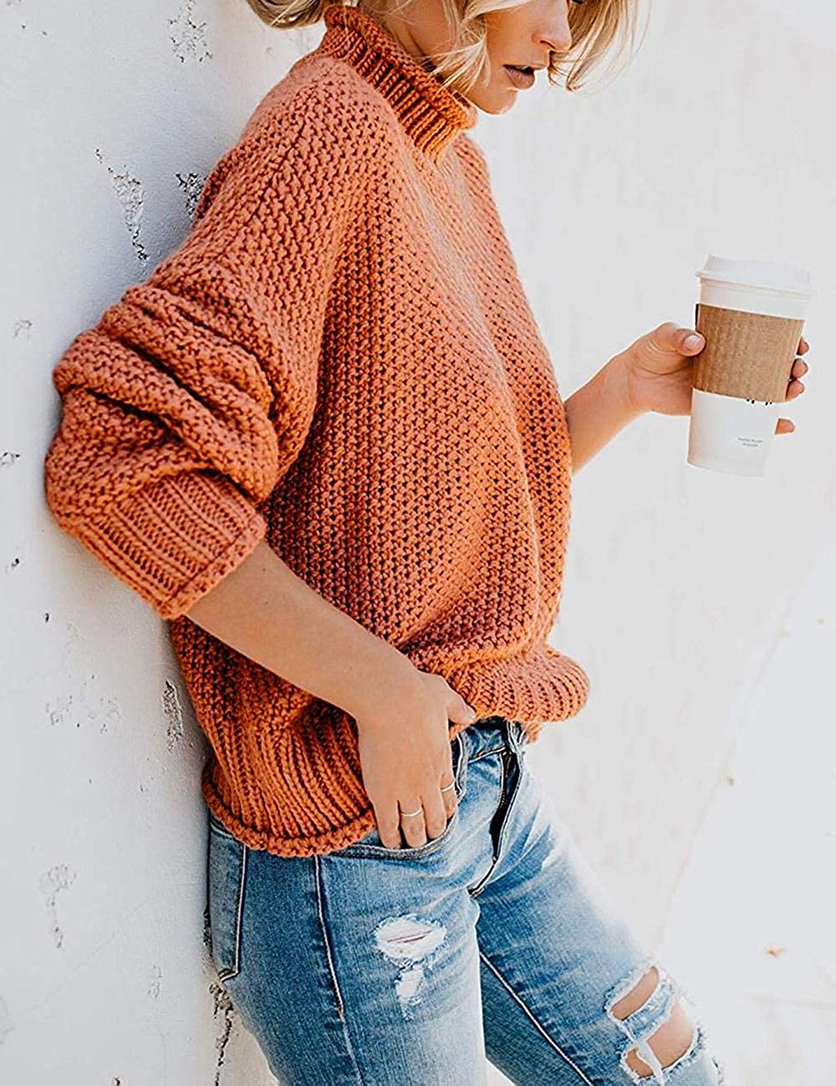 ZESICA Turtleneck Long Batwing Sleeve Sweater