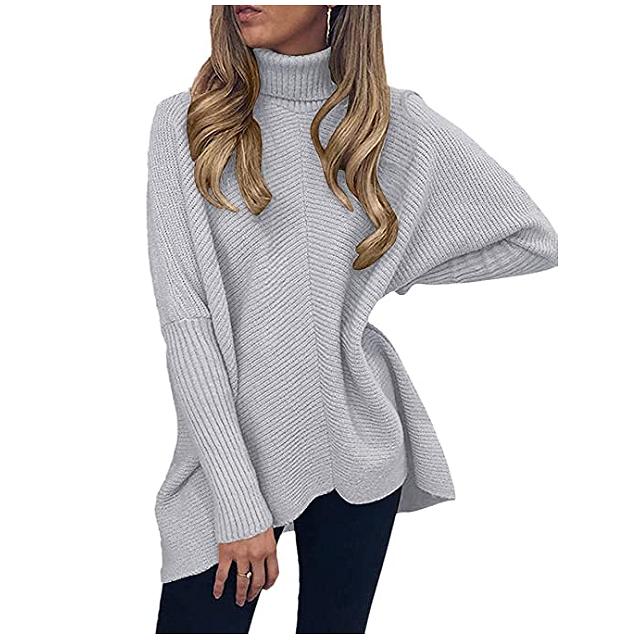 ANRABESS Suéter de cuello alto con manga larga de murciélago y dobladillo asimétrico para mujer (gris)
