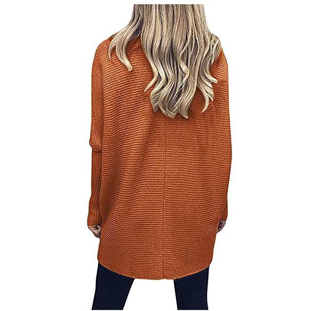 ANRABESS Suéter con dobladillo asimétrico con manga larga de murciélago y cuello alto para mujer (naranja óxido)