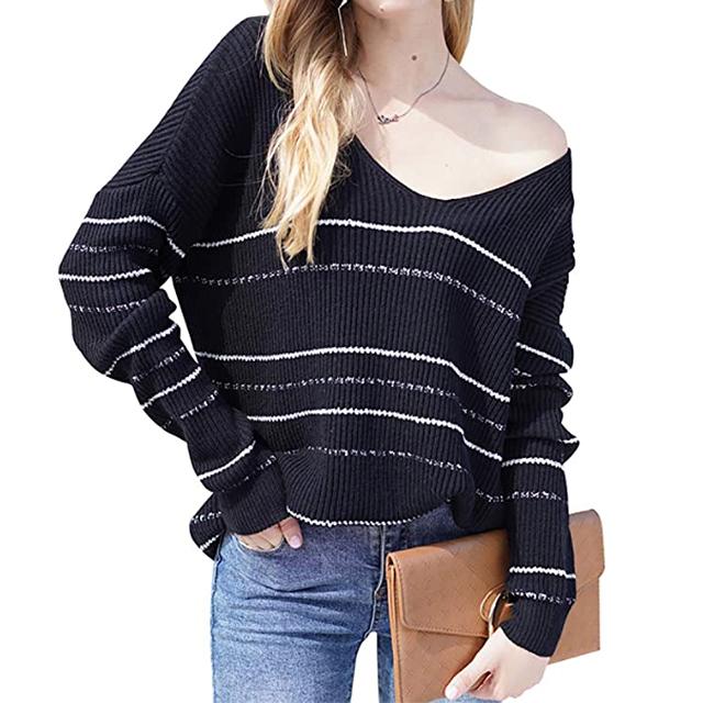 BTFBM Suéter holgado con estampado de rayas casual para mujer (negro)