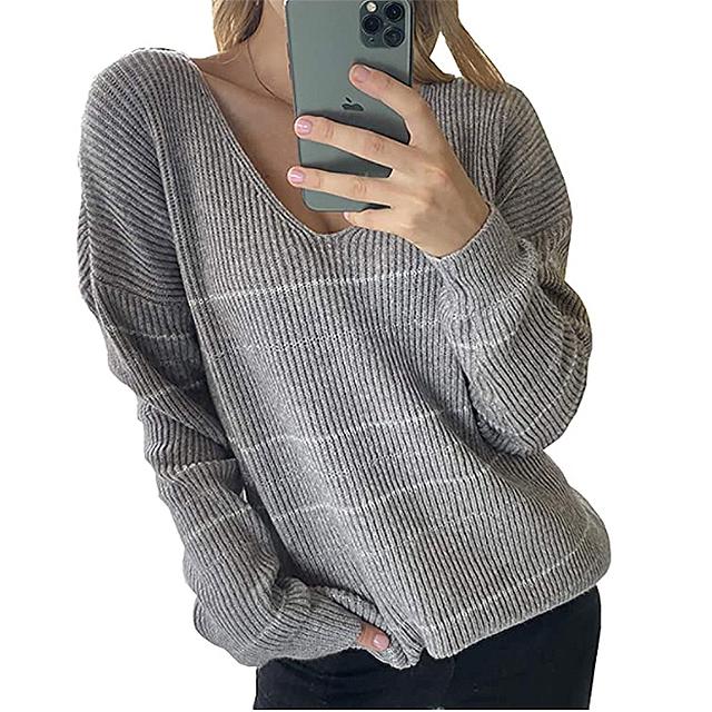 BTFBM Suéter holgado con estampado de rayas casuales para mujer (gris)
